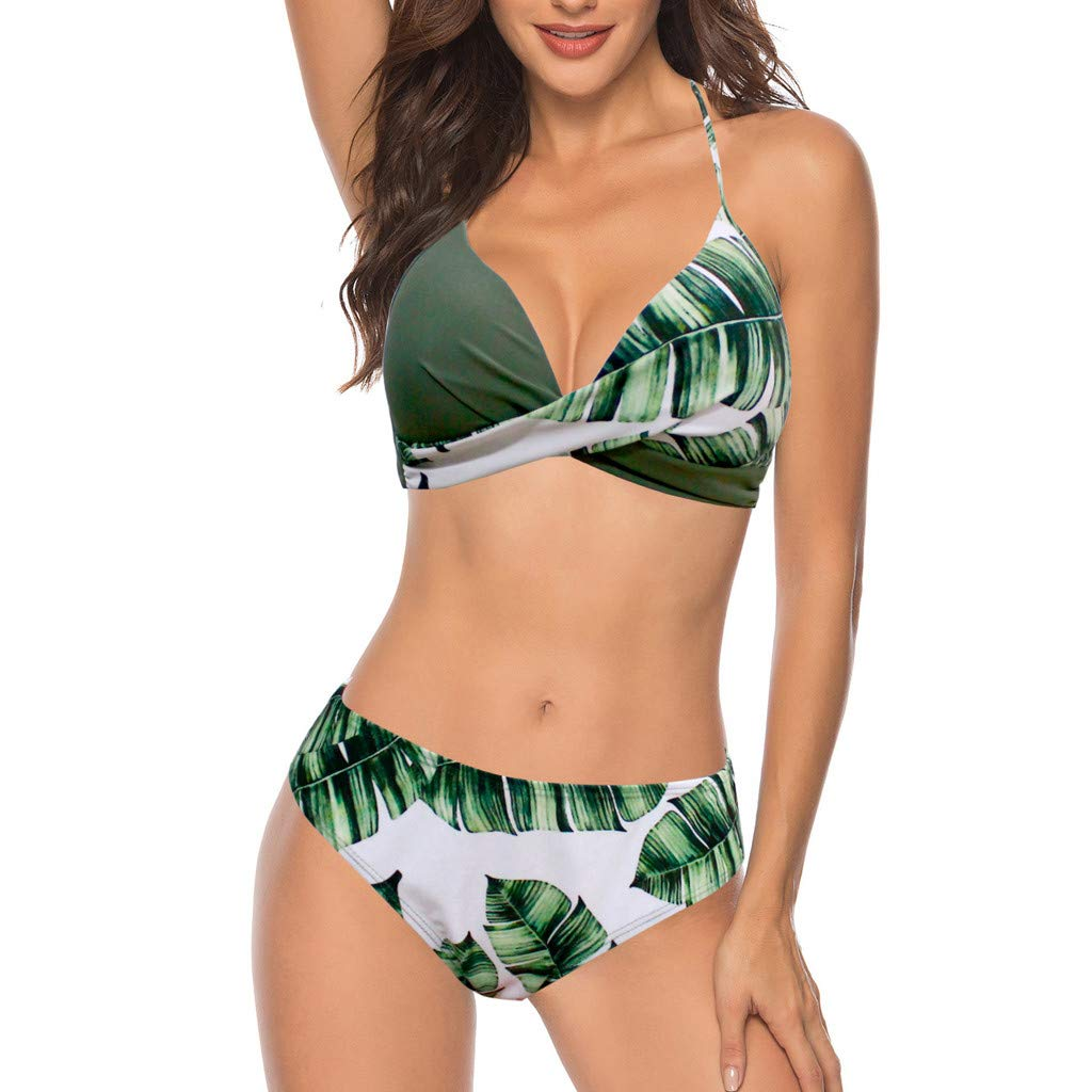 OPALLEY Folie Hiver Maillot de Bain Femme 2 Pièce, Bikini Push up,Maillot 2 Pièces Sport,Maillots de Bain Brésilien Push Up Ensemble Maillot Bandeau
