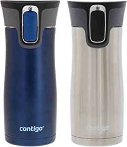 Contigo Autoseal West Loop 2.0 - Vacuum Insulated Stainless Steel Coffee Travel Mug - Keeps Drinks Hot or Cold for Hours - Fits Under Single-Serve Brewers- 16oz, Trans Matte Monaco & Stainless