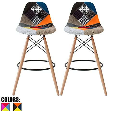 2xhome – Set of Two 2 – Multicolor – 26 Seat Height Modern Upholstered Bar Stool Barstool Counter Stools with Backs and armless Natural Legs Wood Eiffel Legs Dowel-Leg