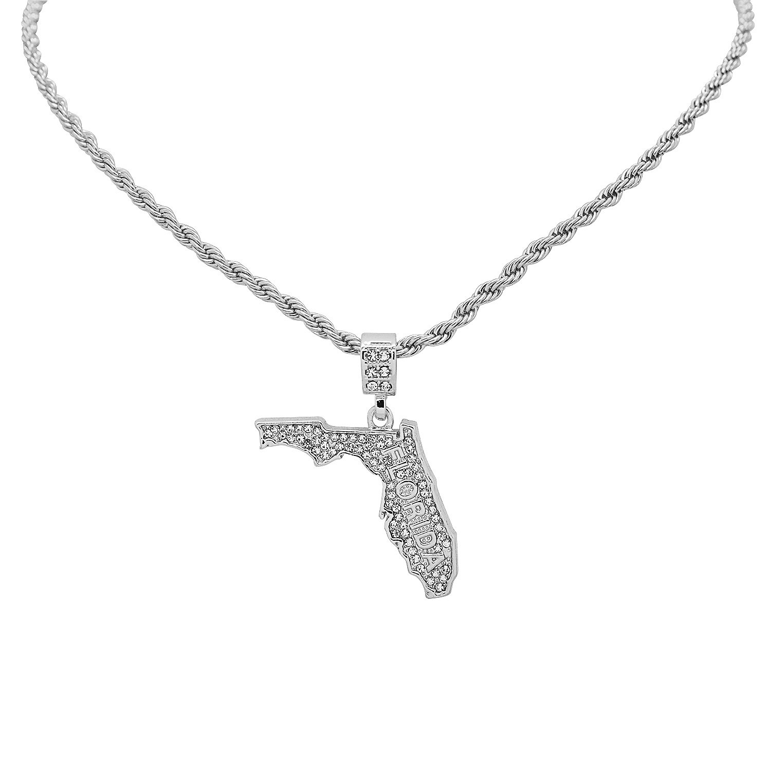 White Gold-Tone Hip Hop Bling Simulated Crystal The Sunshine State Florida Map Pendant with 20 Tennis Chain and 24 Rope Chain