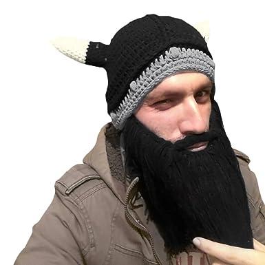 CHIC-CHIC Men Children Winter Warm Handmade Knitted Beard Mustache Hat  Crochet Viking Beanie Hats dcb0a6a104e5