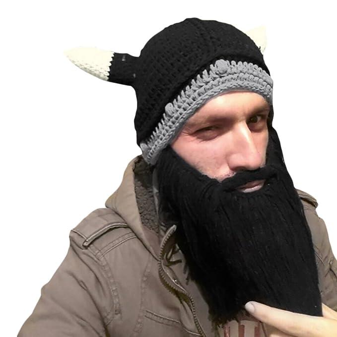 85db90c3409 CHIC-CHIC Men Children Winter Warm Handmade Knitted Beard Mustache Hat  Crochet Viking Beanie Hats Cap Fancy Dress Accessory (Adults Black)   Amazon.co.uk  ...