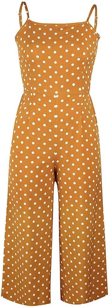 Kaister Combinaison Longue Dos Nu Bretelles Playsuit Femmes Polka Dot Holiday Leg Pantalon Large