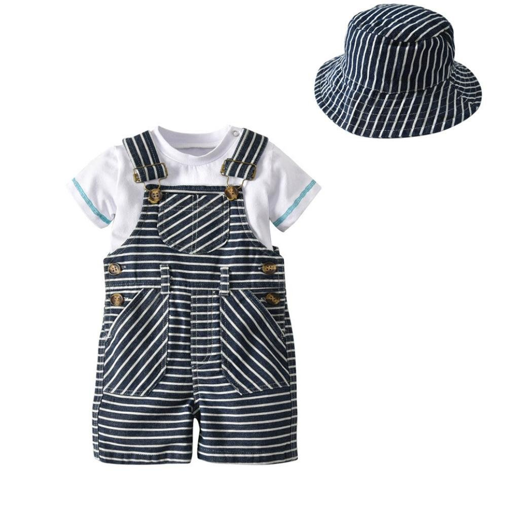 Goodtrade8 Toddler Baby Boy 3 Piece Gentleman Ruffle Suspenders Short Sleeve Shirt Top with Sun Hat