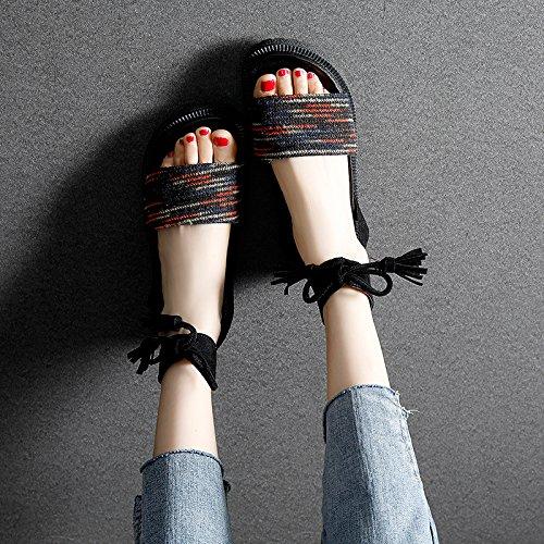 YMFIE Bohemia Comodidad Antideslizante Sandalias de Punta Plana Mujeres Zapatos de Playa tamaños Europeos: 34-43 B