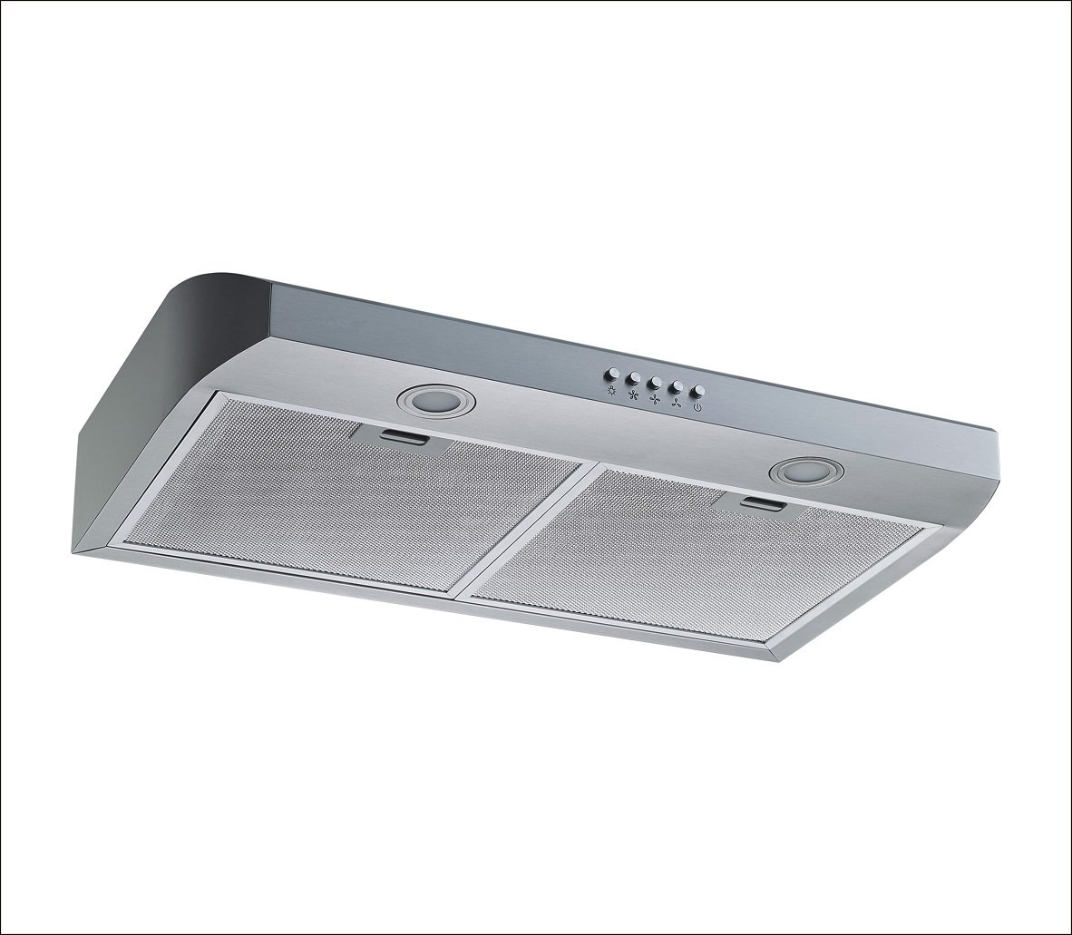 """Winflo 30"""" Under Cabinet Stainless Steel European Slim Design Kitchen Range Hood Push Button Control Included Dishwasher-Safe Aluminum Filters and LED Lights"""