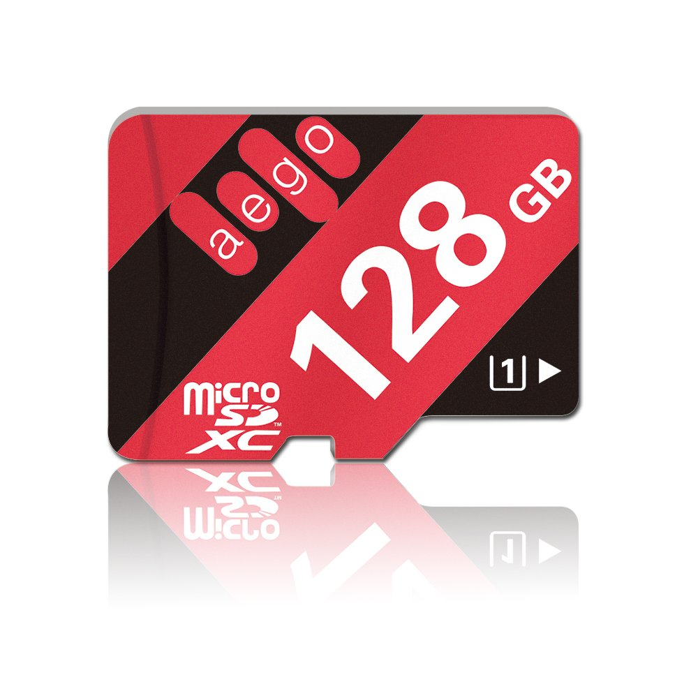AEGO 128gb MicroSDXC UHS-1 Class 10 Micro SD Card for Fire Tablets Dash Cam, with Free Adapter (AEGO-128gb, U1)