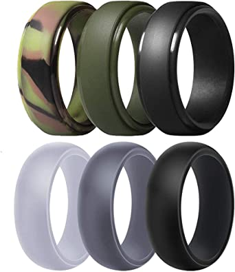 Untouchble Silicone Wedding Ring for Mens Rubber Wedding Bands for Athletes Crossfit Workout
