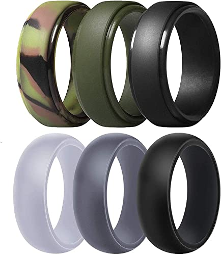 Bands Perfect for Crossfit Fitness Camouflage Silicone Wedding Rings for Women