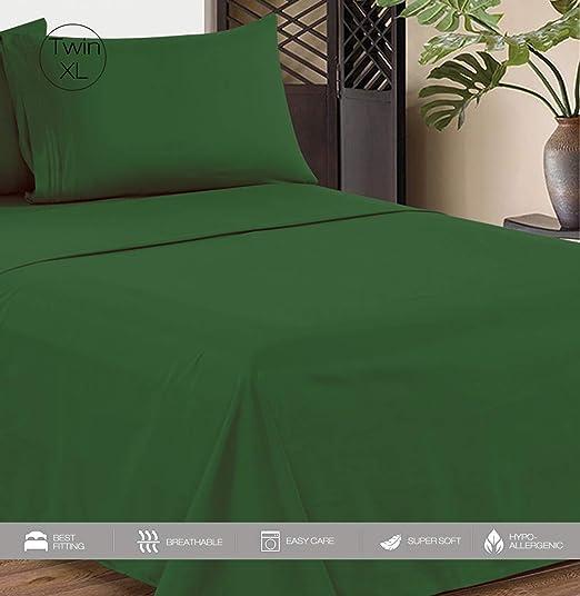 NEW 4 PIECE MICROFIBRE SHEET SET KING GREEN PILLOWCASE FITTED BEDSHEET BEDROOM