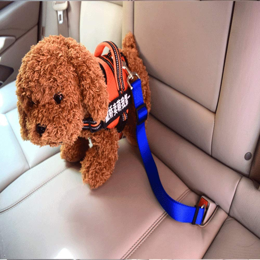 bluee Car Dog Safety Rope Pet Car Seat Belt Retractable Traction Rope Pet Supplies (color   bluee)