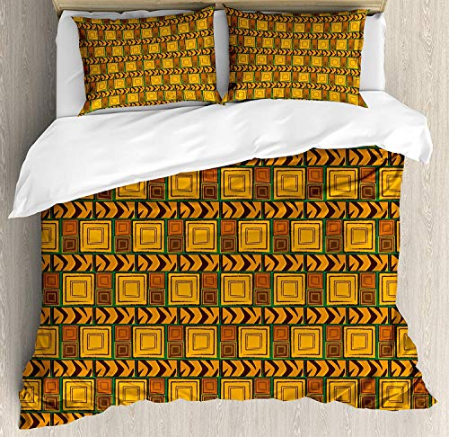 - Queen Zambia 3 Piece Duvet Cover Set with 2 Pillow Shams Kenya Ethnic Motif with Geometrical Aztec Native American Effects Print Bedding Set with Zipper Closure & Corner Ties, Yellow Brown Green