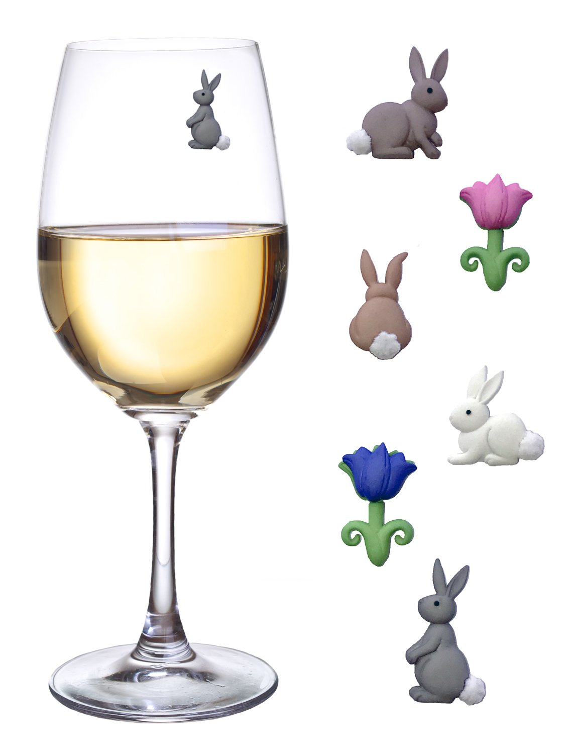 Magnetic Wine Glass Charms - Cute Bunnies and Flower Drink Markers Set of 6 by Simply Charmed