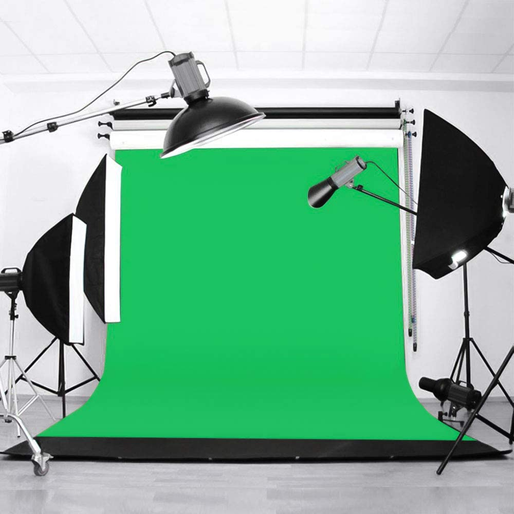 Souarts Greenscreen Backdrop 1.8x2.8 M//6X9 FT Polyester Photography Filming Green White Backdrops for Backdrops Frame Stand Photo Studio Live Webcast