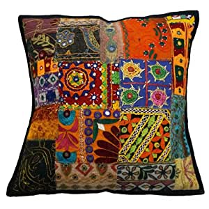Kutch Embroidered Pillowcase 45 Cm Patchwork Cushion Cover Home Décor Gift India