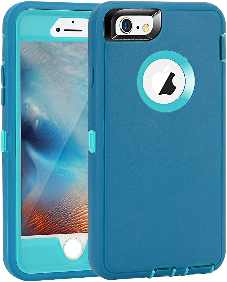 "iPhone 6 Plus/6S Plus Case, Maxcury Heavy Duty Shockproof Series Case for iPhone 6 Plus /6S Plus (5.5"") with Built-in Screen Protector Compatible with All US Carriers (Teal/Lt Blue)"