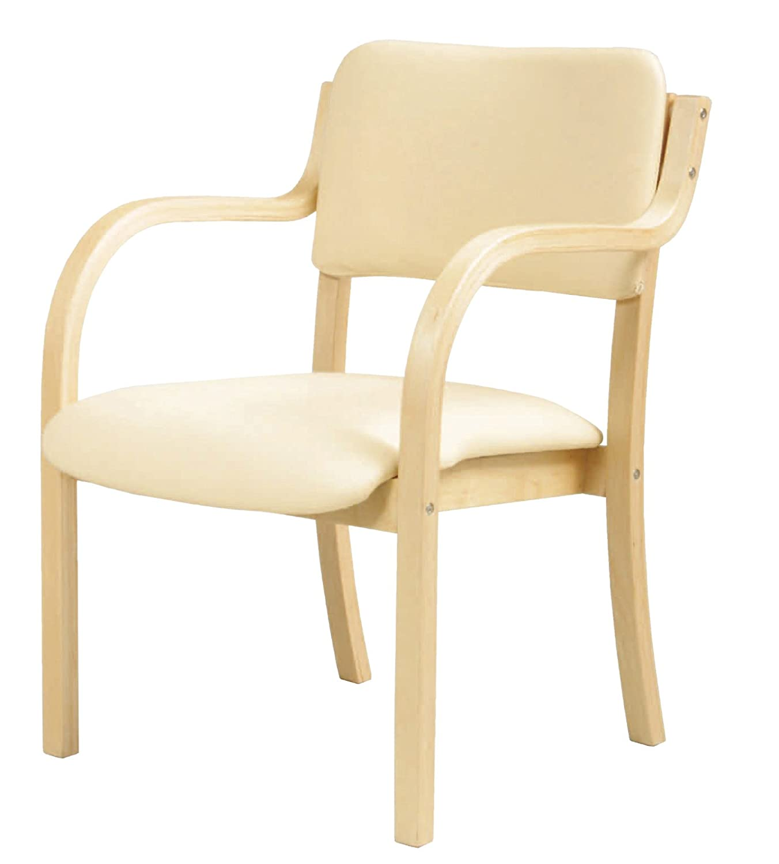 木製ベーシックデザイン 肘付ダイニングチェア 座面高さ415mm (ホワイト) B017NF9VCW ホワイト ホワイト