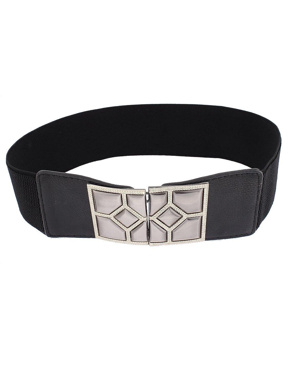 uxcell Adjustable Elastic Waistband Waist Belt 6cm Wide Black