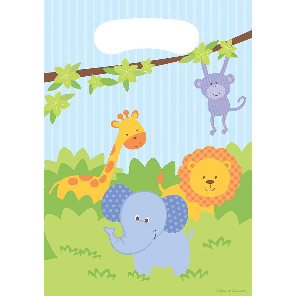 G/én/érique For/êt Animaux Lion Girafe El/éphant Anniversaire F/ête 8 Enfants Gar/çon Fille Babyshower D/écoration Vaisselle Table 1 Nappe 8 Assiettes 8 Gobelets 16 Serviettes 8 Sacs Cadeaux Surprises