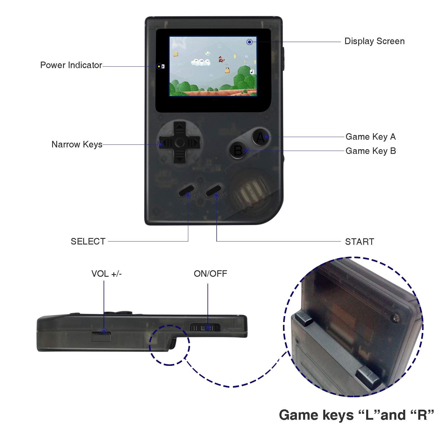 MJKJ Handheld Game Console , Retro Game Console 2 Inch HD Screen 548 Classic GBA Games , Birthday Presents for Children - Transparent Black by MJKJ (Image #7)