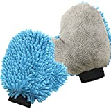 SEG Direct Ultra Soft Chenille & Coral Velvet Wash Mitt 2 Pack - Super Cleaning Power with Considerate Design for both Car Exterior Interior Household Cleaning