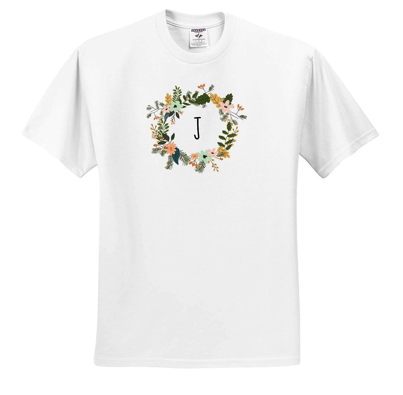 Image of J Floral Monogram Quote T-Shirts 3dRose Gabriella B