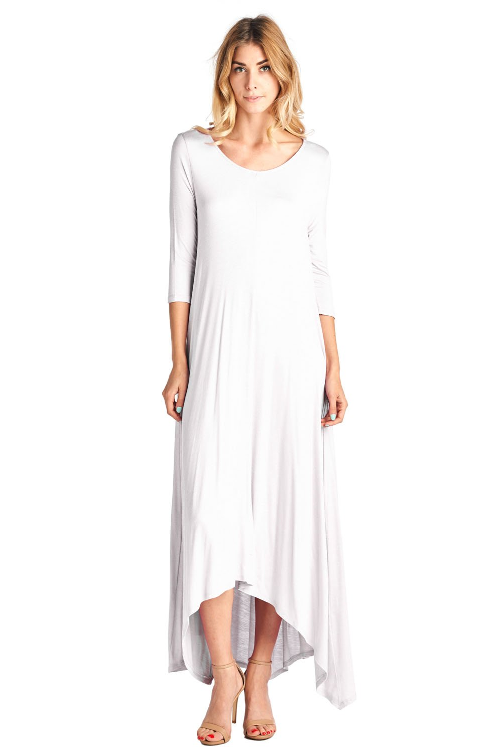 12 Ami Solid 3/4 Sleeve Pocket Loose Maxi Dress White 1X