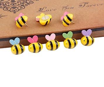 Amazon.com : 15 Pcs Bees Push Pins Decorative Thumb tacks Colorful ...