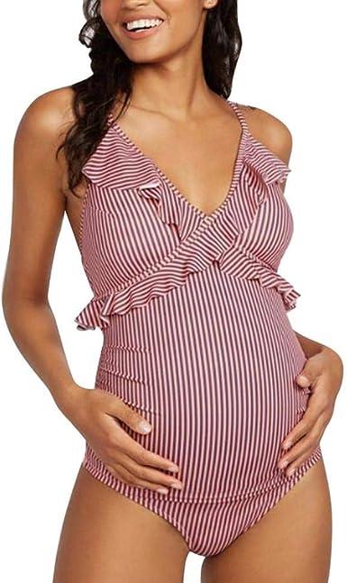Logobeing Banador Premama Traje De Bano Mujer Maternidad Para Mujer Con Estampado Floral Bikinis Traje De Bano Mujer Deportes Tankinis Mujer Tallas Grandes Banador Playa 53 Rosado Xl Amazon Es Ropa Y Accesorios
