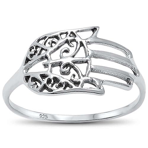Kabbalah Hand of God Evil Eye .925 Sterling Silver Ring Sizes 5-10