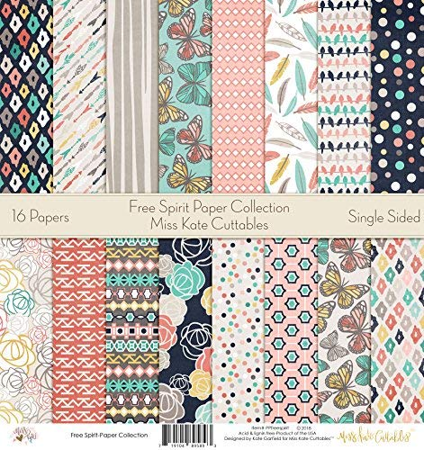by Miss Kate Cuttables Free Spirit Scrapbook Premium Specialty Paper Single-Sided 12x12 Collection Includes 16 Sheets Pattern Paper Pack