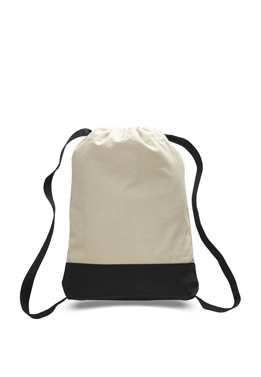 2ダース( 24 / Pack ) – コットンキャンバスキャンバススポーツバックパック B017RSHEMO ナチュラル/ブラック