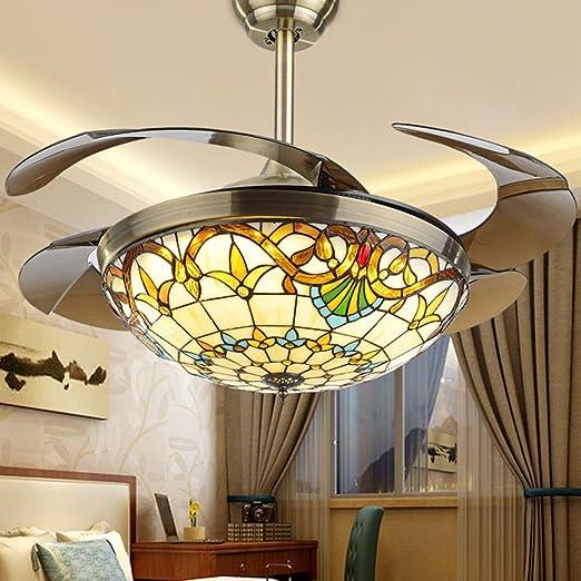 Xiqan Tiffany Ventilador de Techo con luz, lámpara de Techo de ...