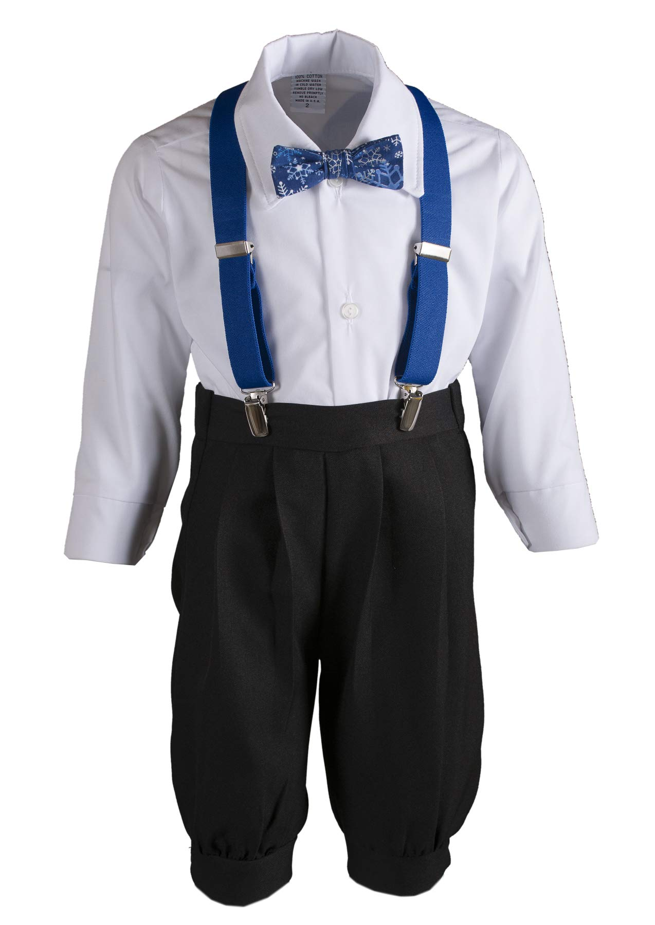 Boys Black Knickers Pageboy Cap with Royal Blue Suspenders & Snowflake Bow Tie (6B) by Tuxgear (Image #2)