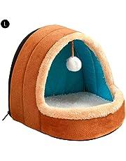 Cama para perros Gato Mascota con bola colgante, cueva suave y cálida, Respirable nido