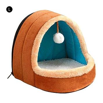Cama para perros Gato Mascota con bola colgante, cueva suave y cálida, Respirable nido de gato perrera con cremallera, y Diseño inferior antideslizante: ...