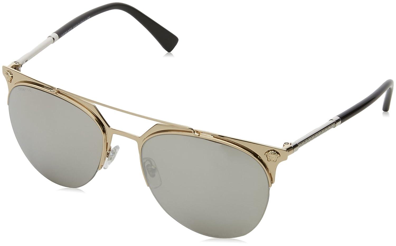 Versace Herren Sonnenbrille 0VE2181 100171, Gelb (Yellow/Gunmetal/Green), 57