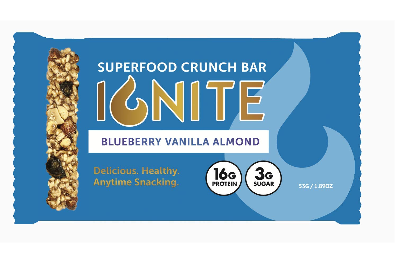 Ignite Keto Crunch Bars – Blueberry Vanilla Almond - High Protein Keto Crispy Treat– Low Sugar - High Protein – Gluten, Soy & Grain Free