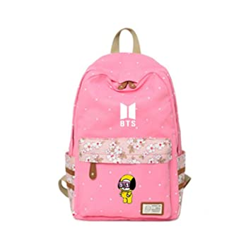 Amazon.com: 2018 Kpop BTS Backpack Flower wave Rucksacks girls Women rugtas mochila escolar Bangtan Boy Wings travel Shoulder Bag (41): OOHPA