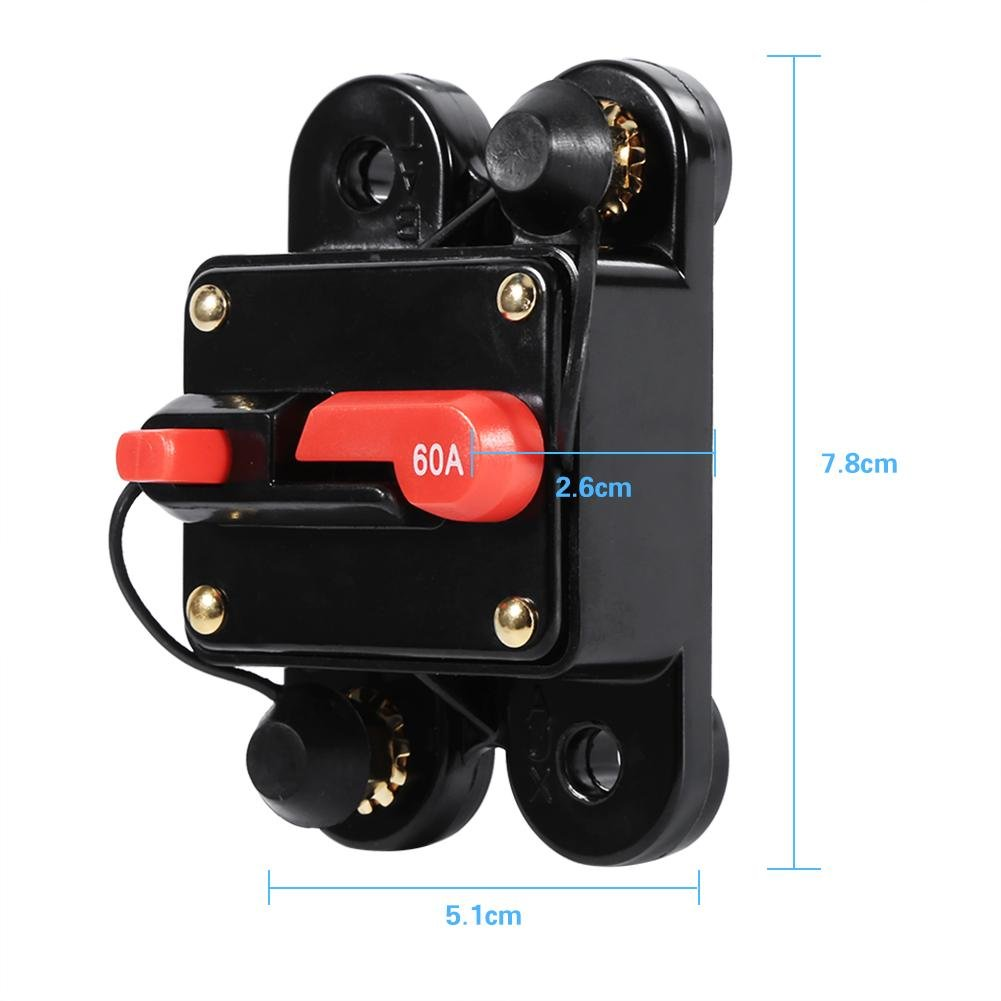 100A Keenso 12V-24V 50A 60A 80A 100A Circuit Breaker Reset Fuseholder Car Boat Fuse Holder Waterproof for System Protection