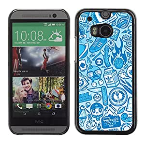 CaseCaptain Carcasa Funda Case - HTC One M8 / Cool Hipster Graffiti Pattern /