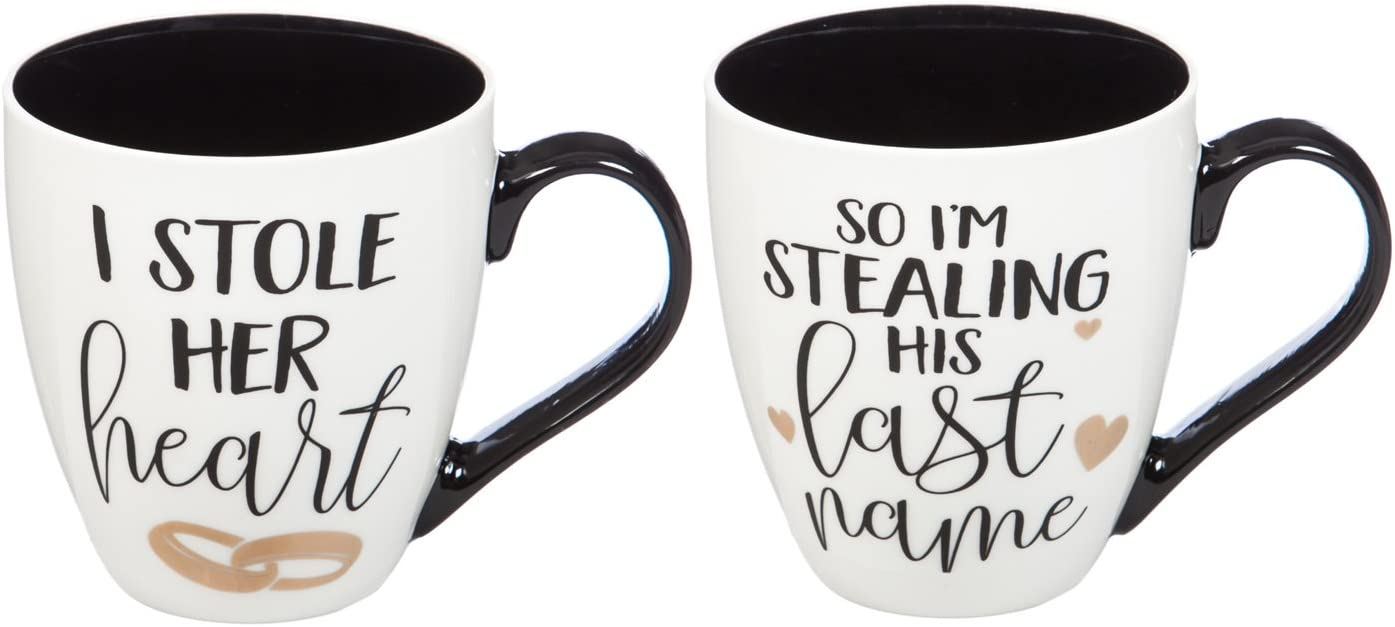 Wedding Gift 17 OZ Ceramic Cup O' Java Set of 2-4 x 5 x 6 Inches