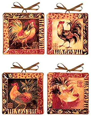 Manual Woodworkers \u0026 Weavers Decorative Plates Mini Safari Rooster by Susan Winget Set  sc 1 st  Amazon.com & Amazon.com: Manual Woodworkers \u0026 Weavers Decorative Plates Mini ...