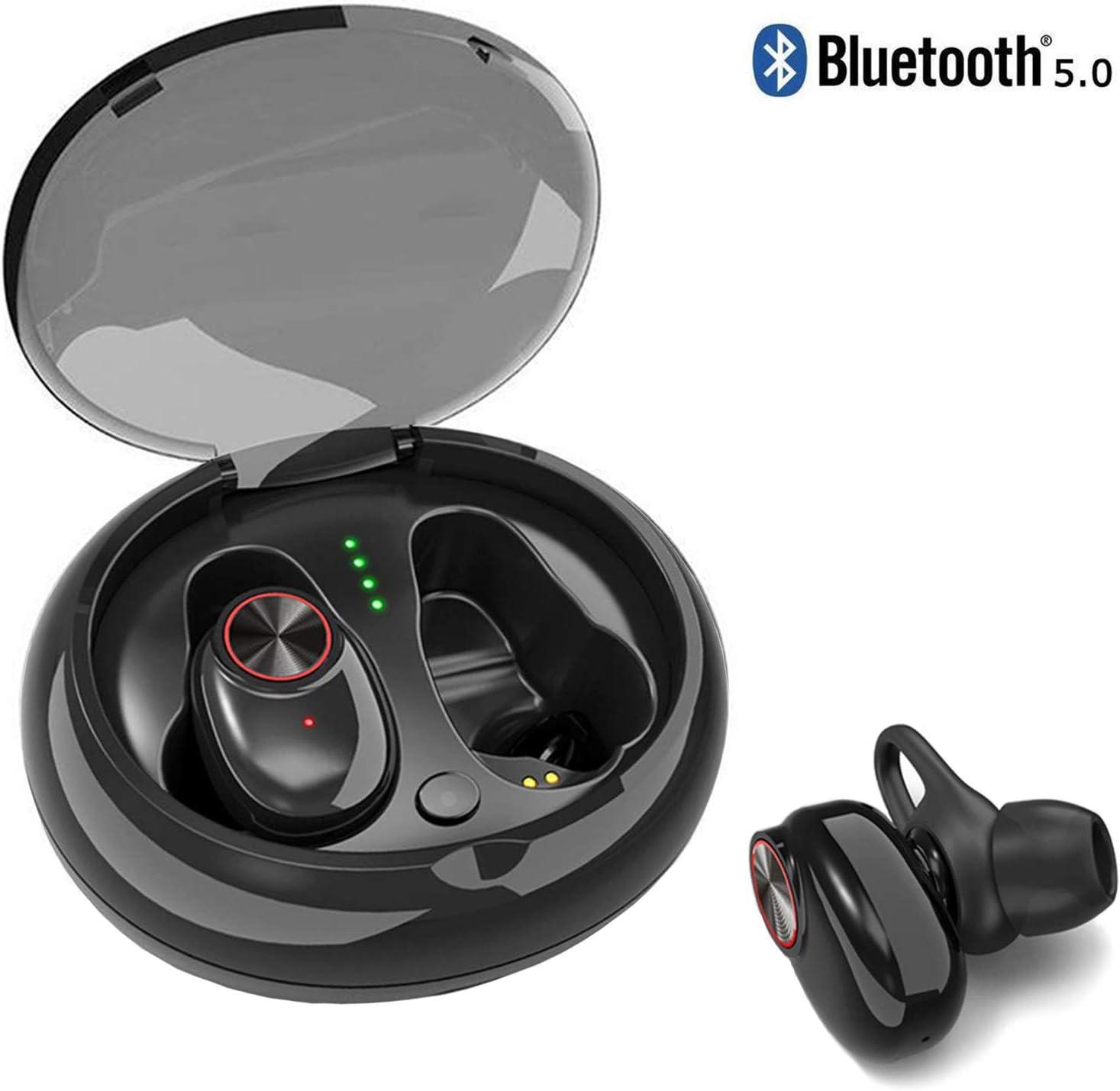 Bluetooth 5.0 Wireless Earbuds, ZACTEK TWS 3D Stereo Sound Earphones with Charging Case IPX6 Waterproof, Cordless Earbuds Sport Headphones for Running, Exercising. Black