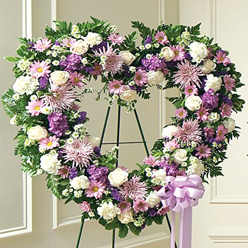 PlantShed - Always Remember Lavender Floral Heart Tribute - Flower Hand Delivery in NYC Local Manhattan Florist
