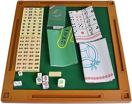 Fesjoy Mini Juego Mahjong Plegable para Viajes de Ocio Familiar,Juego de Mesa Multifuncional: Amazon.es: Juguetes y juegos