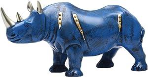 "BRASSTAR Resin Blue Rhino Statue Wildlife Rino Animal Figurine Collectible 10.6"" Length Gift Home Office Decor TQZDPT007"