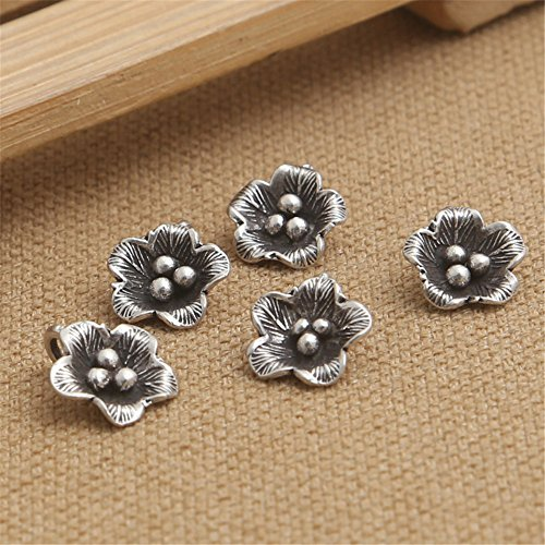 (Luoyi 3pcs Handmade Thai Sterling Silver Flower Pendants, 113mm, Hole:3mm (S034G))