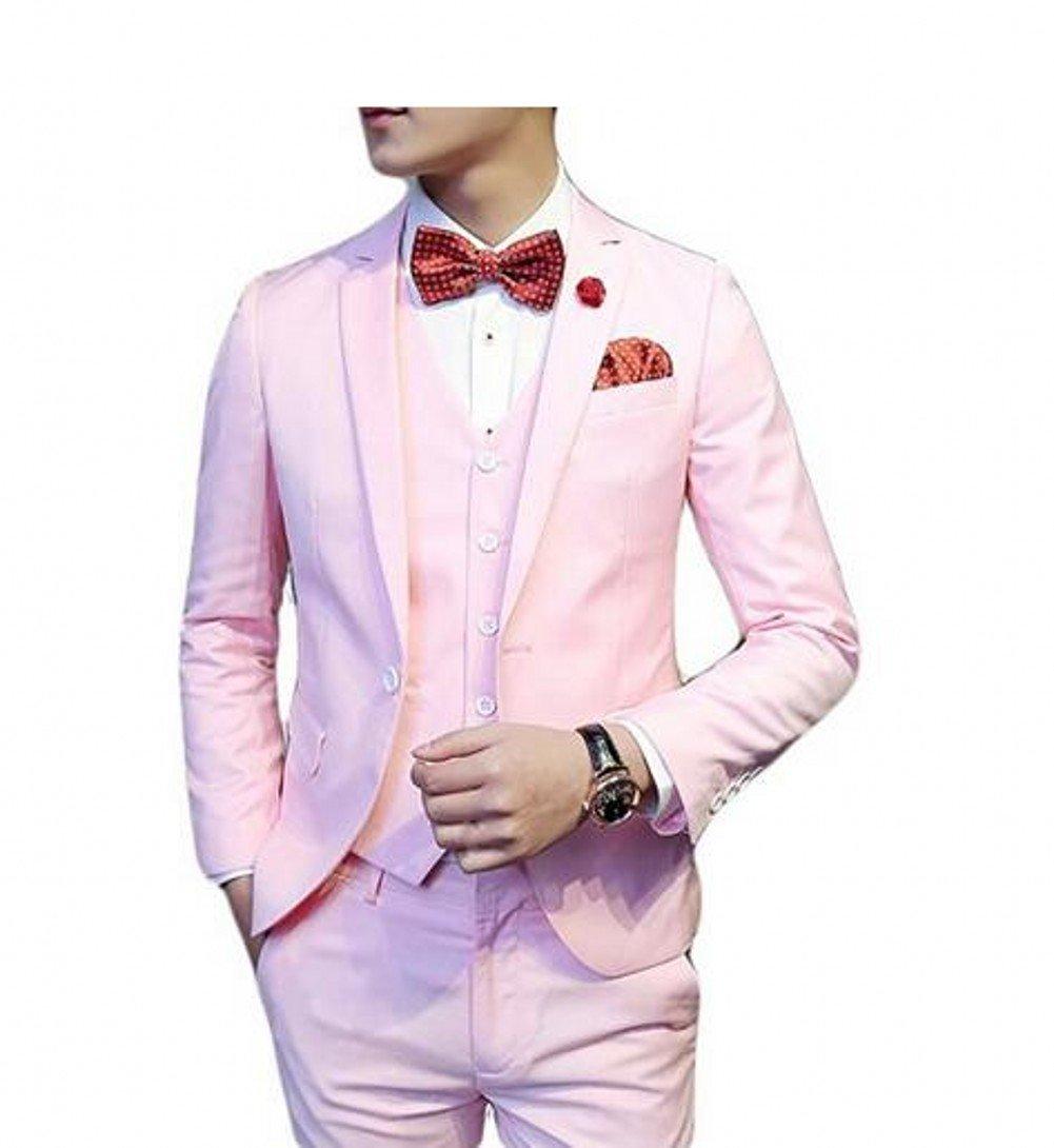 Love Dress Slim Fit Three Piece Men's Suit with Vest Wedding Prom Party Pink 4XL