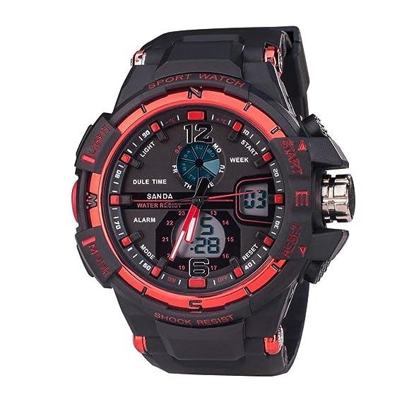 Niños reloj digital analógico resistente al agua a prueba de golpes deportes cronómetro relojes para correr negro + rojo: Amazon.es: Relojes